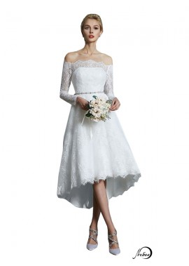 2021 Long Sleeves Short Lace Wedding Dress T801524714740