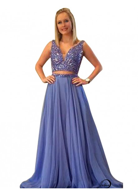 Two Piece Long Prom Evening Dress T801524705357