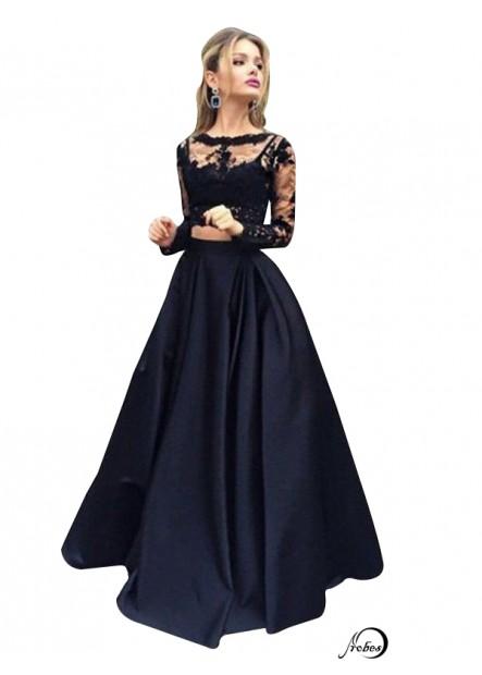 Lace Black Long Prom Evening Dress T801524703566