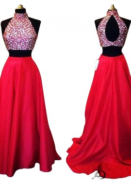 Two Piece Long Prom Evening Dress T801524705364