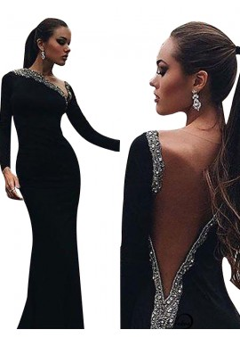 Black Mermaid Long Evening Dress T801524703948