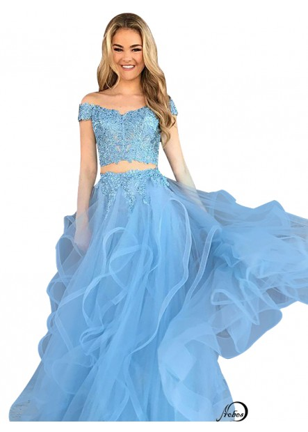 Two Piece Long Prom Evening Dress T801524704689